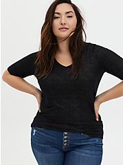 Super Soft Black Sparkle Elbow Sleeve Top, DEEP BLACK, hi-res
