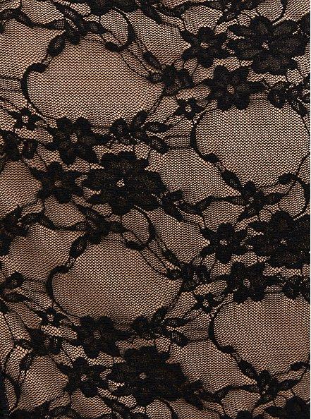 Black Scuba Knit & Lace Corset Peplum Top, DEEP BLACK, alternate