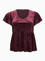 Burgundy Purple Velvet Midi Babydoll Top, WINETASTING, hi-res