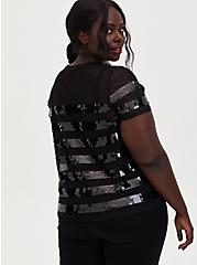 Black Sequin Stripe Sheer Mesh Top, DEEP BLACK, alternate