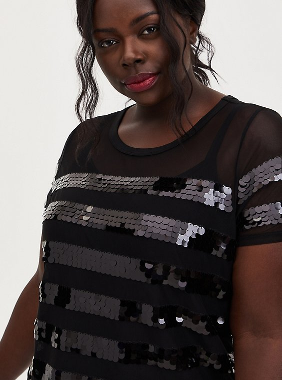 Black Sequin Stripe Sheer Mesh Top, DEEP BLACK, hi-res
