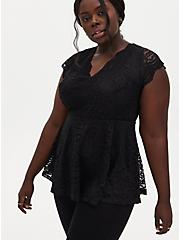 Black Lace Peplum Top, DEEP BLACK, hi-res