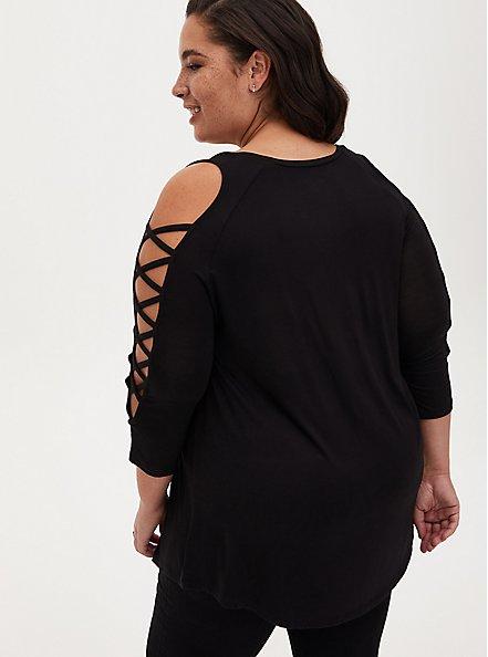 Super Soft Black Lattice Sleeve Top, DEEP BLACK, alternate