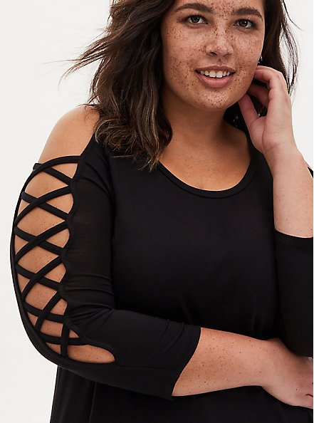 Super Soft Black Lattice Sleeve Top, DEEP BLACK, hi-res