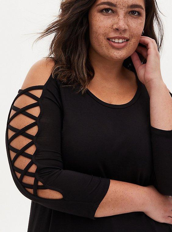 Super Soft Black Lattice Sleeve Top, , hi-res