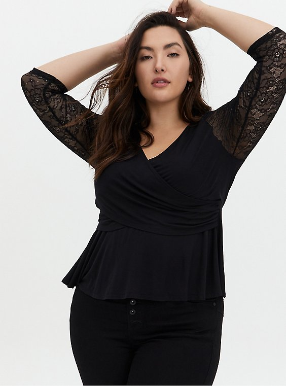 Super Soft Black Floral Lace Surplice Midi Top, , hi-res