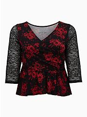 Super Soft Black Roses Lace Surplice Midi Top, DEEP BLACK, hi-res