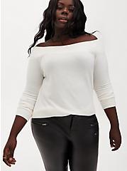 Super Soft Plush White Off Shoulder Tunic Top, BRIGHT WHITE, hi-res