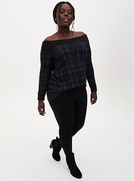Super Soft Plush Dark Green & Black Plaid Off Shoulder Tunic, , alternate