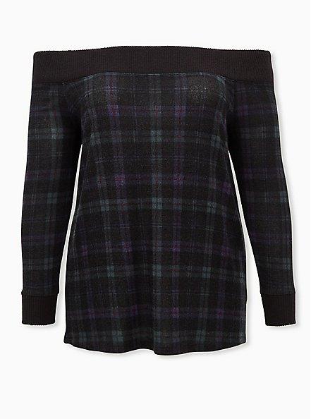 Super Soft Plush Dark Green & Black Plaid Off Shoulder Tunic, , hi-res