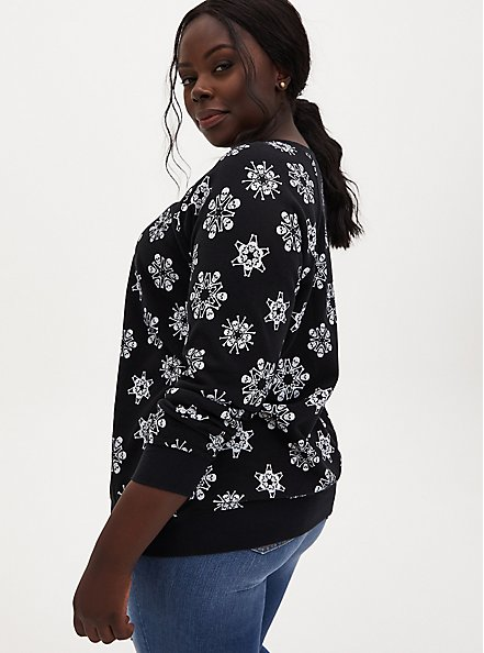 Black Skull Snowflake Fleece Sweatshirt, DEEP BLACK, alternate