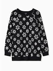 Black Skull Snowflake Fleece Sweatshirt, DEEP BLACK, hi-res
