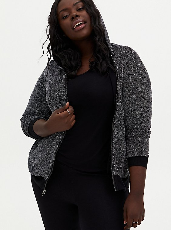 Black Jersey Shimmer Zip Hoodie, , hi-res