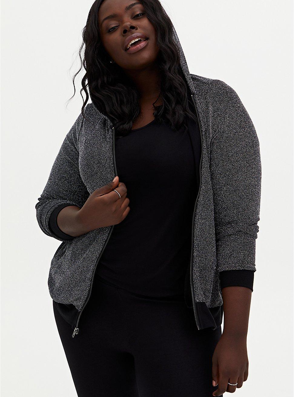 Black Jersey Shimmer Zip Hoodie, DEEP BLACK, hi-res