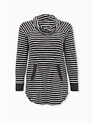 Super Soft Plush Grey Stripe Cowl Neck Tunic Sweatshirt, HEATHER GREY, hi-res