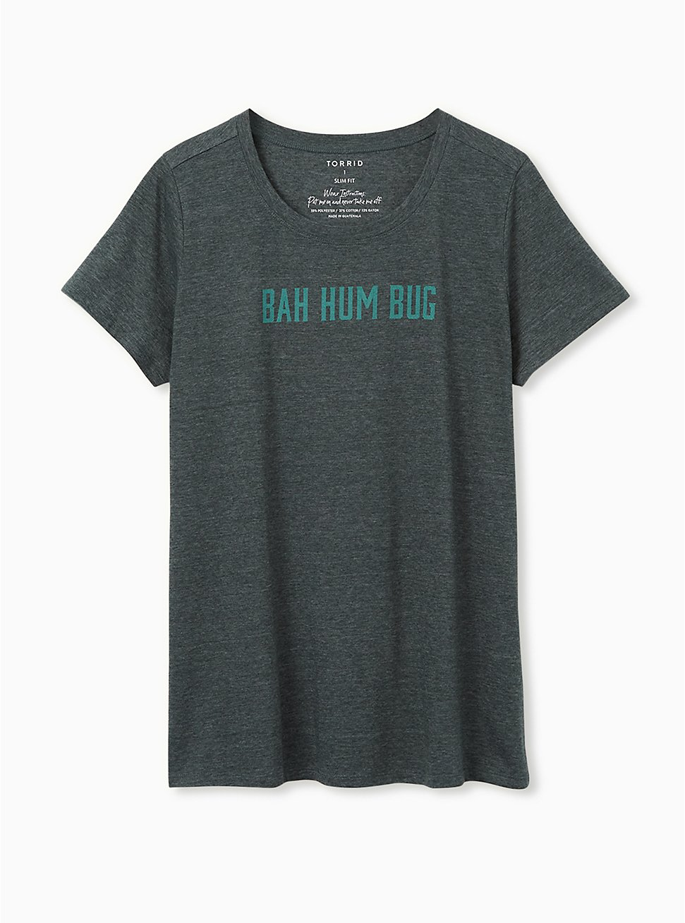 Plus Size Bah Humbug Slim Fit Graphic Tee - Dark Green, , hi-res