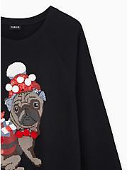 Black Fleece Embellished Santa Pug Holiday Sweatshirt, DEEP BLACK, alternate