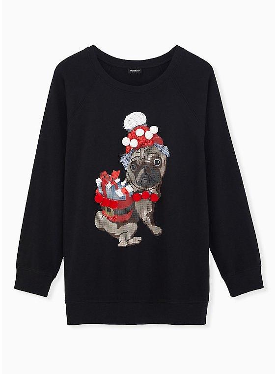 Black Fleece Embellished Santa Pug Holiday Sweatshirt, DEEP BLACK, hi-res