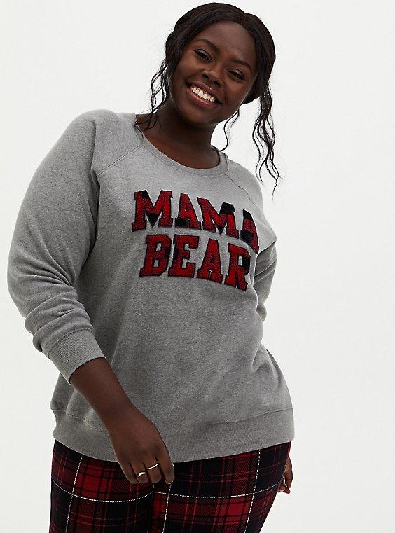 Mama Bear Heather Gray Fleece Pullover Sweatshirt, , hi-res