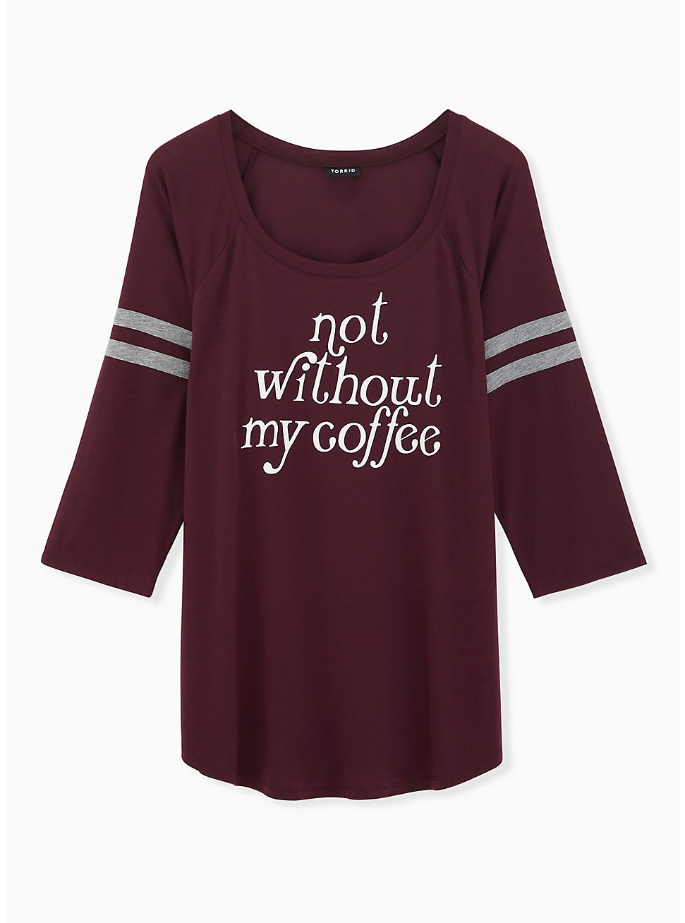 Not Without Coffee Burgundy Purple Football Tee, WINETASTING, hi-res