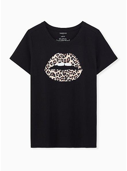 Leopard Lips Slim Fit Graphic Tee - Black, DEEP BLACK, hi-res
