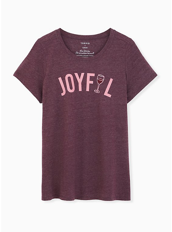 Joyful Slim Fit Crew Tee - Burgundy Purple, , hi-res
