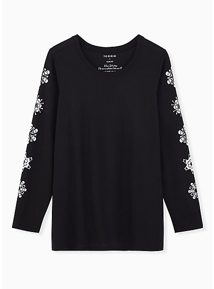 Skull Snowflake Slim Fit Graphic Tee - Black, DEEP BLACK, hi-res