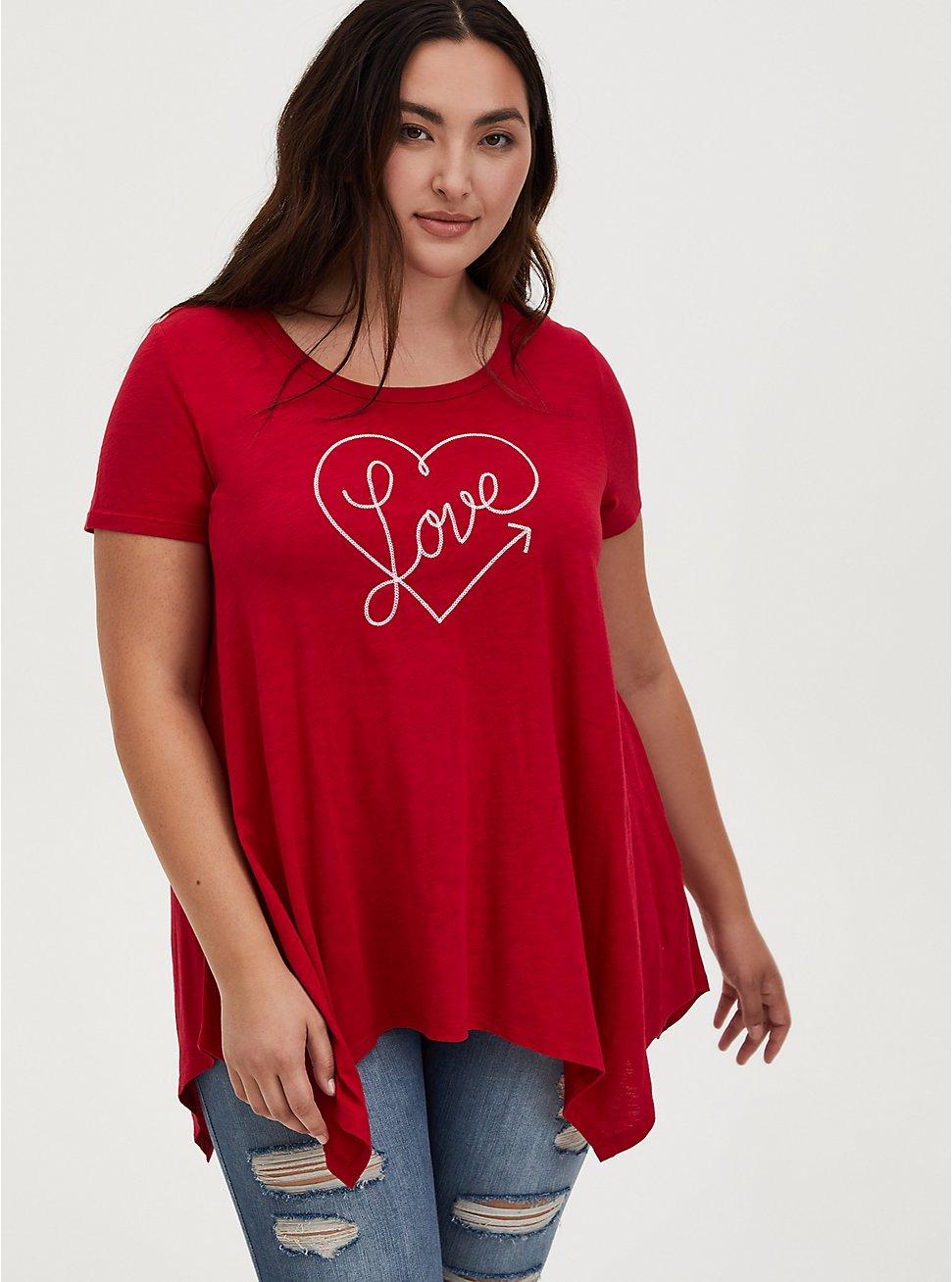 Love Heart Red Slub Jersey Handkerchief Tee, JESTER RED, hi-res