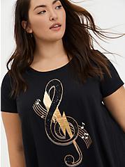 Gold Music Note & Black Slub Jersey Handkerchief Tee, DEEP BLACK, hi-res
