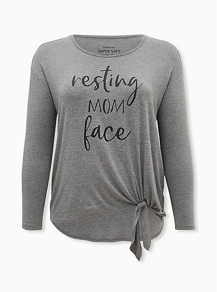 Plus Size Resting Mom Face Super Soft Grey Tie Front Long Sleeve Tee, MEDIUM HEATHER GREY, hi-res