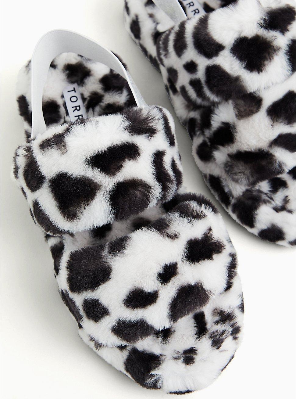 Black & White Leopard Faux Fur Dual Strap Slipper (WW), WHITE, hi-res