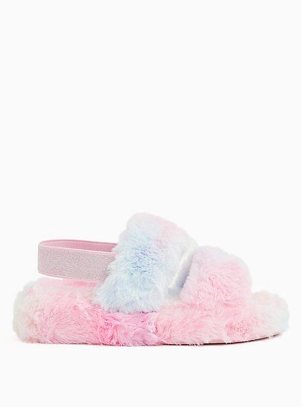 Pastel Rainbow Faux Fur Dual Strap Slipper (WW), MULTI, alternate