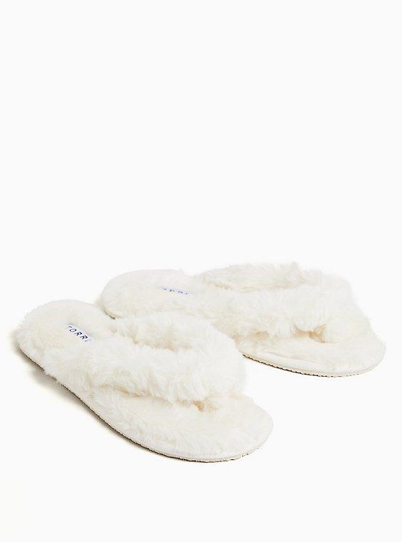 Ivory Faux Fur T-Strap Slipper (WW), WHITE, hi-res
