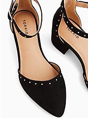 Black Faux Suede Studded D'Orsay Block Heel Pump (WW), BLACK, alternate
