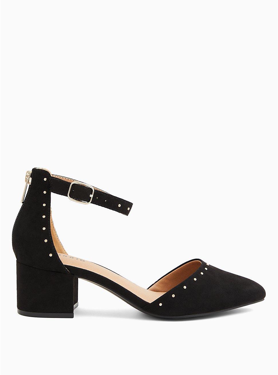 Black Faux Suede Studded D'Orsay Block Heel Pump (WW), BLACK, hi-res