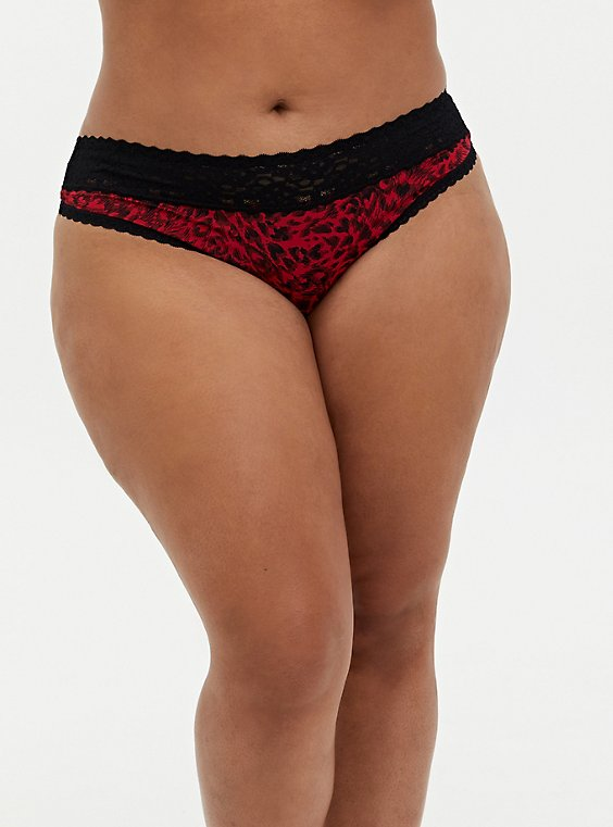 Red Heart Swirls Second Skin Thong Panty , , hi-res
