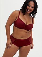 Dark Red Glossy Cutout Cheeky Panty, BIKING RED, alternate