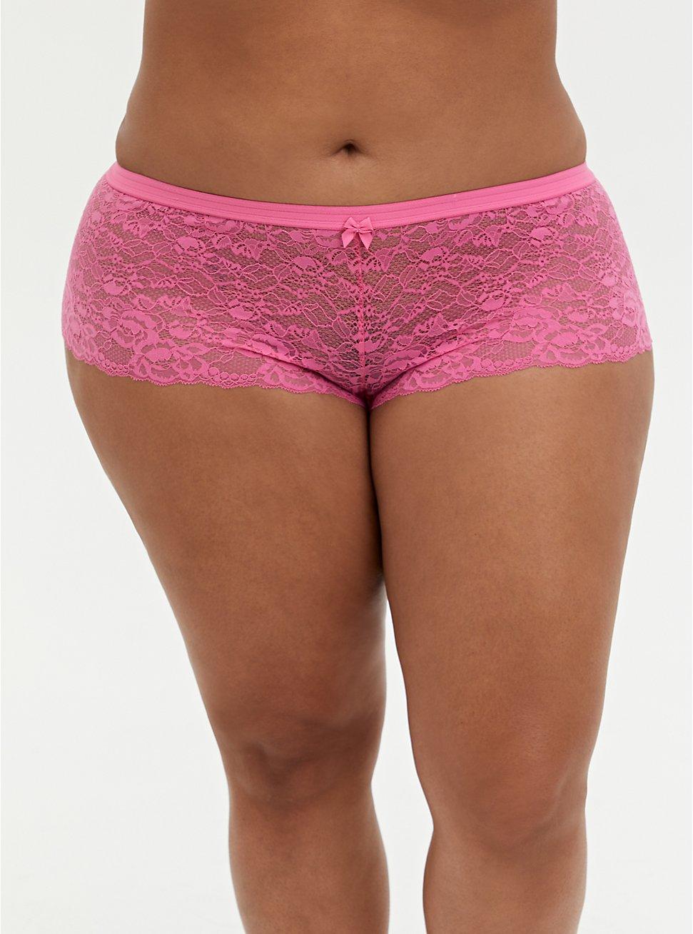 Pink Lace Cheeky Panty, AZAELEA PINK, hi-res