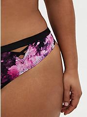 Pink Tie-Dye Microfiber Lattice Thong Panty, TIGER DYE, alternate
