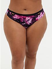 Pink Tie-Dye Microfiber Lattice Thong Panty, TIGER DYE, hi-res