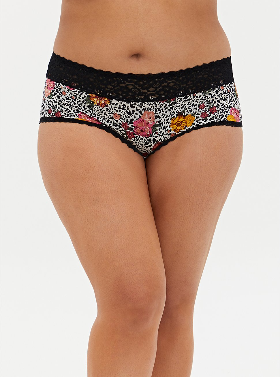 Plus Size White Leopard Floral Second Skin Cheeky Panty, WILD THINGS FLORAL, hi-res