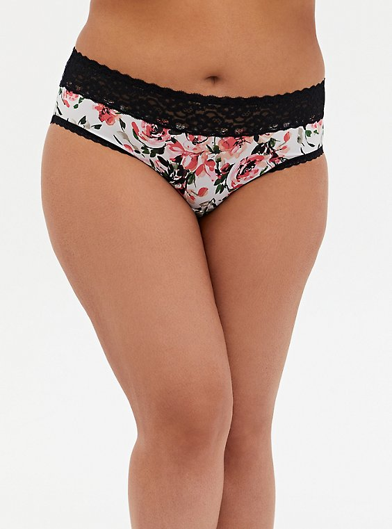 White Watercolor Floral Second Skin Hipster Panty, , hi-res