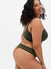 Olive Green Microfiber & Mesh Thong Panty, DEEP DEPTHS, alternate