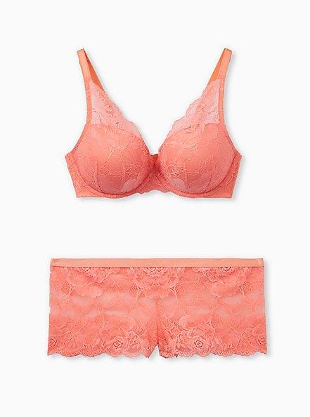 Coral Lace Lattice Back Cheeky Panty, DESERT FLOWER KH, alternate