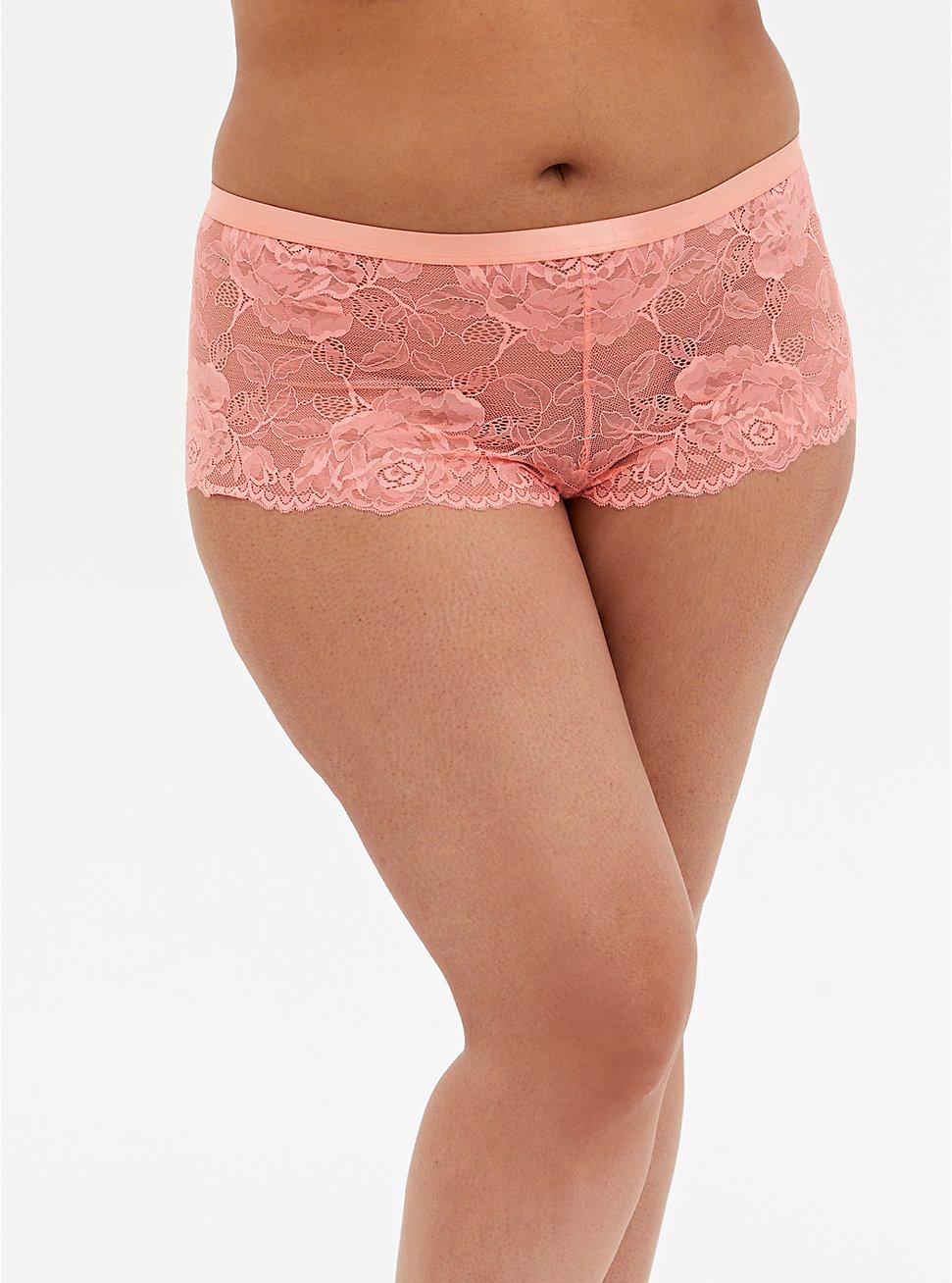 Coral Lace Lattice Back Cheeky Panty, DESERT FLOWER KH, hi-res