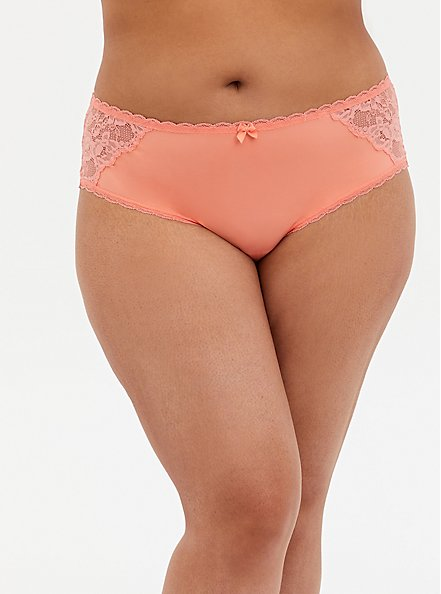 Peach Super Soft & Lace Lattice Hipster Panty, DESERT FLOWER KH, hi-res
