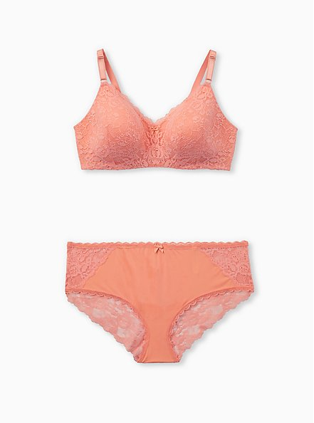 Coral Lace 360° Back Smoothing™ Lightly Lined Everyday Wire-Free Bra, DESERT FLOWER KH, alternate