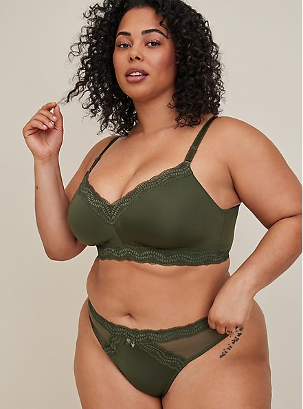 Plus Size Olive Green 360° Back Smoothing™ Lightly Lined Everyday Wire-Free Bra, DEEP DEPTHS, alternate