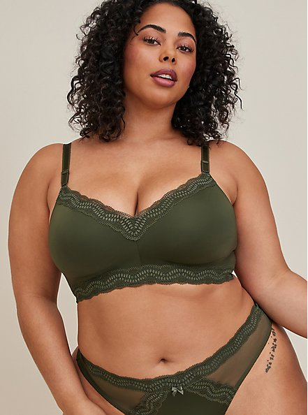 Plus Size Olive Green 360° Back Smoothing™ Lightly Lined Everyday Wire-Free Bra, DEEP DEPTHS, hi-res