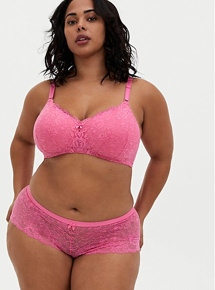 Pink Lace 360° Back Smoothing™ Lightly Lined Everyday Wire-Free Bra, AZAELEA PINK, alternate